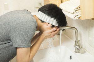 髭を抜く前の洗顔